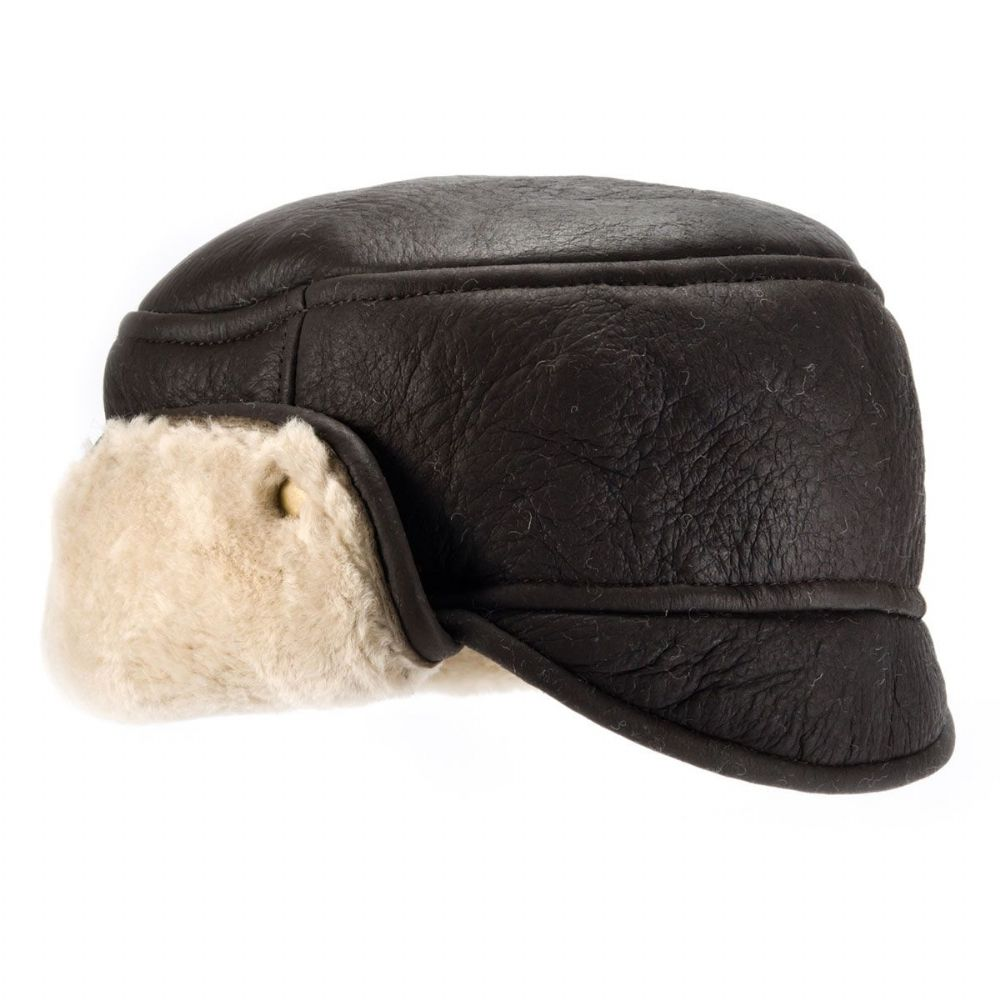 Mens Sheepskin Leather Trapper Hat  Caxton